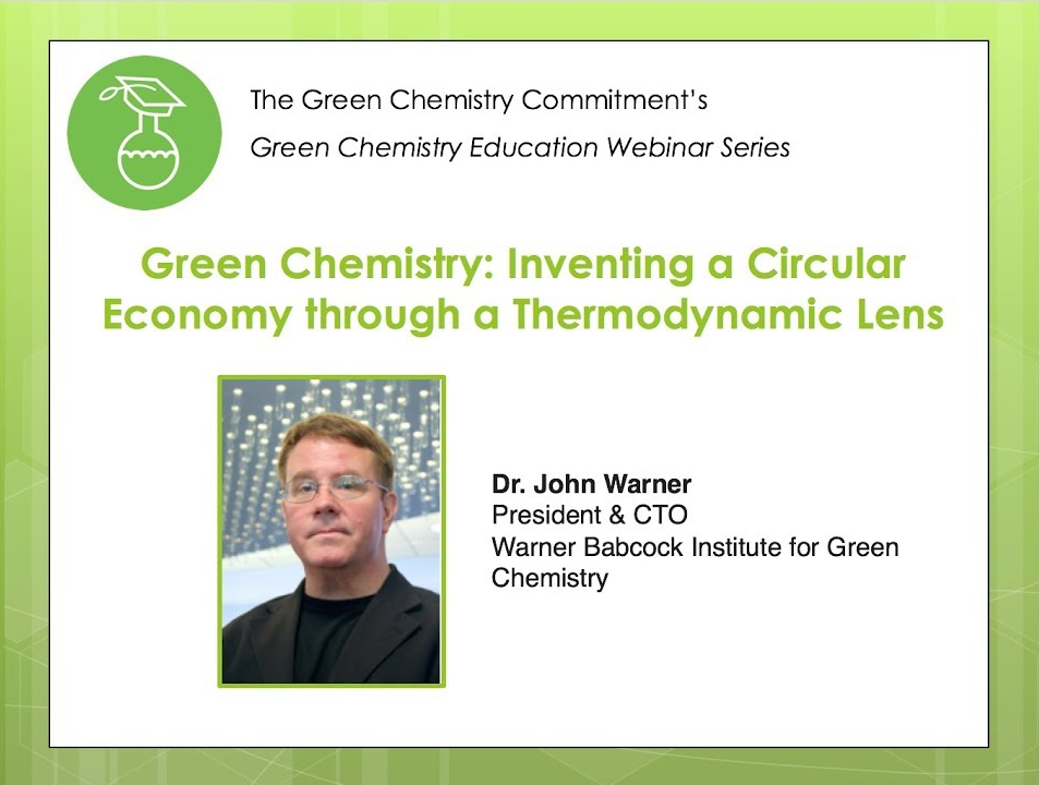 , Webinar: Green Chemistry: Inventing a Circular Economy through a Thermodynamic Lens, The Circular Economy, The Circular Economy