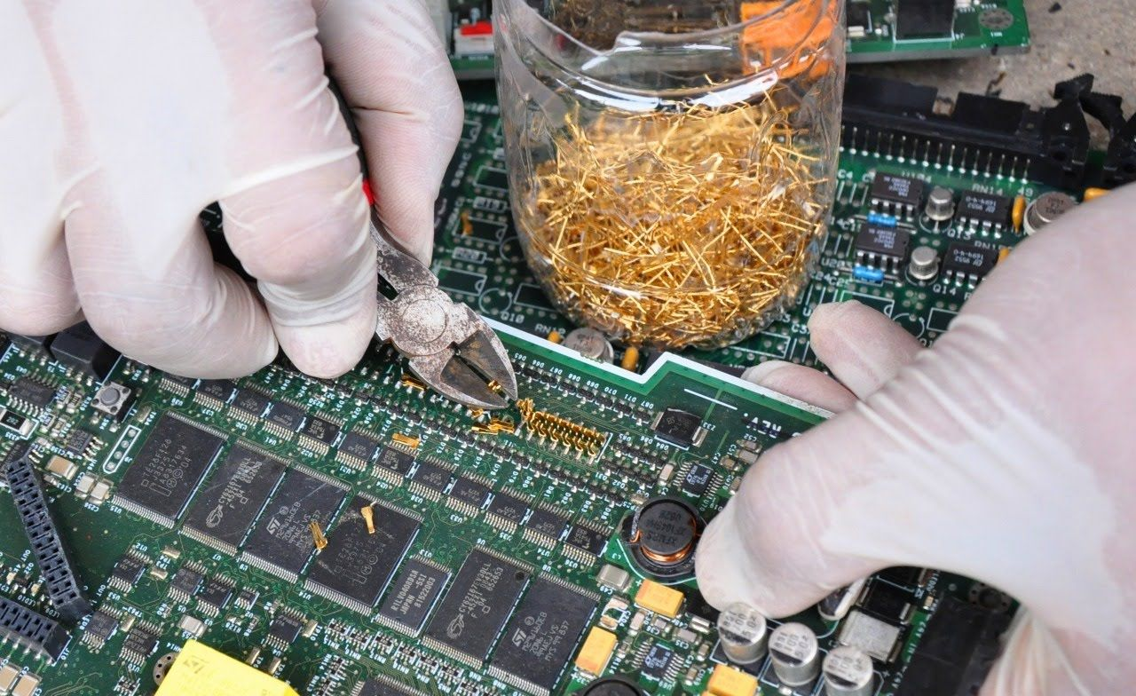 Recycle gold from electronics devices. e-waste Recycling scrap components connectors circuit Boards., The Circular Economy