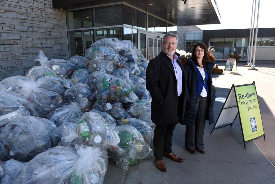 , Mound of single-use plastics at Durham headquarters illustrates usage of recyclable products, The Circular Economy, The Circular Economy