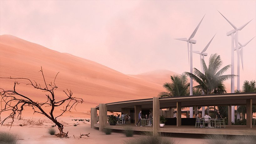, sustainable lodge complex proposal settles within abu dhabi desert landscape, The Circular Economy
